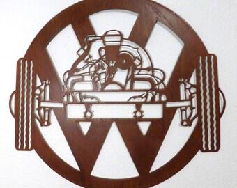 Volkswagen Beetle Engine with VW Logo Plasma Cut Metal Art  Wall Hanging