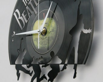 The Beatles vinyl record wall clock, ideal for home decor, unique gift present and hand made art, interior design for music fan, 002