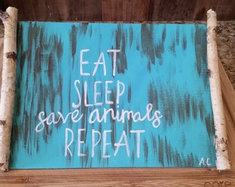 Save animals birch frame painting