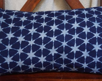 Series 7 stars: Cover 30x50cm (12 x 20 inches) cushion, cotton Indian print. Star patterns. Color indigo blue and white