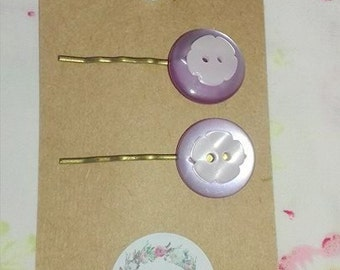 Button Hair Clips/ Slides/Grips Lilac Flowers