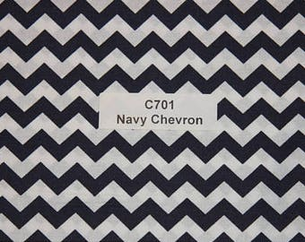 Navy Chevron Cotton Fabric Diaper Changing Pad Cover