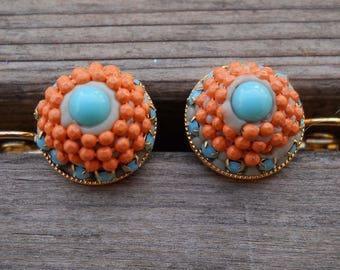 Gold Dangle Earrings, Gold Drop Earring, Small Gold Dangle Earrings, Gold Plated Round Earrings, Turquoise Orange Earring, Swarovski Earring