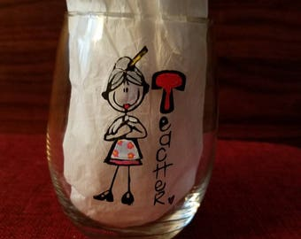 Teacher Stemless wine glass