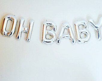 "OH BABY balloons; 16"" silver foil balloons; baby shower; baby announcement; baby letters; baby party; oh baby garland"