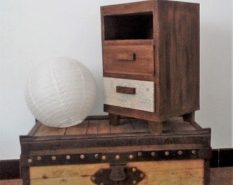 Table nightstand, a niche and two drawers