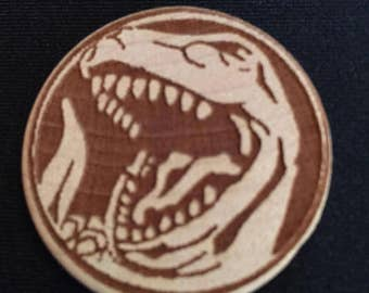 Power Rangers Red Ranger Tyrannosaurus Engraved Birch Wooden Power Coin