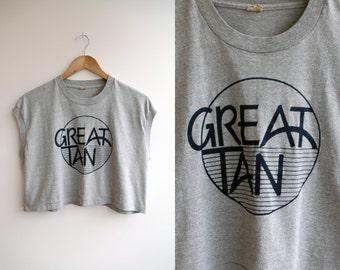 "Vtg 80s ""Great Tan"" Gray Crop Top sz S/M"