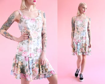 Vtg 90s White Floral Dress w/ Ruffle Skirt sz M