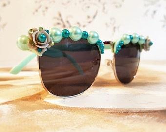 Retro Sunglasses, Rhinestones Sunglasses, Festival Sunglasses, Floral Sunglasses, Embellished Sunglasses, Festival Accessories