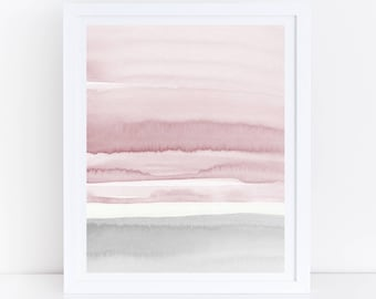 Blush Pink and Grey Abstract Art, Watercolor Printable Art, Watercolor Wall Art, Blush Prints, Pink Grey Wall Art, Bedroom Art, Abstract Art