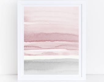 Blush Pink and Grey Abstract Art, Watercolor Printable Art, Watercolor Wall Art, Blush Prints, Pink Grey Wall Art, Bedroom Art, Minimal Art