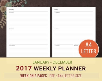 2017 Weekly Planner, WO2P Planner Printable, Weekly Agenda, Weekly Goals, Week on 2 Pages, 2017 Planner Inserts, Daily Planner, A4, Letter