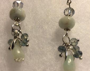 Blue Jade and Swarovski crystal earrings