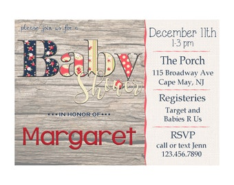 Shabby Chic Baby Shower Invitation - Personalize and Print at Home