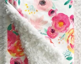 Baby Blanket - Minky Baby Blanket - Pink Baby Blanket - Watercolor Floral - Coral Baby Blanket - Floral Baby Blanket - Faux Fur Baby Blanket