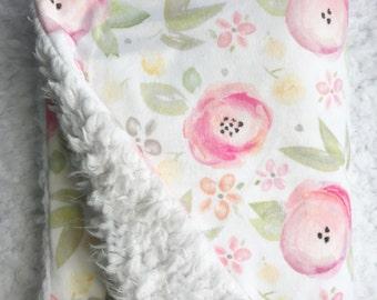 Floral Baby Blanket - Baby Blanket - Minky Baby Blanket - Faux Fur Baby Blanket - Plush Baby Blanket - Watercolor Floral -