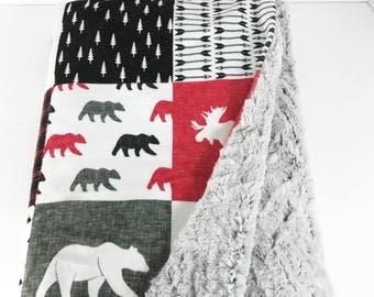 Baby Blanket - Minky Baby Blanket - Woodland Baby Blanket - Baby Boy Blanket - Woodland Nursery - Moose Baby Blanket - Bear Baby Blanket