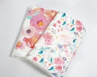 Floral Burp Cloths - Baby Burp Cloth - Baby Girl Burp Cloth - Burp Cloth Set - Watercolor floral - Pink Flowers - Teal Flowers