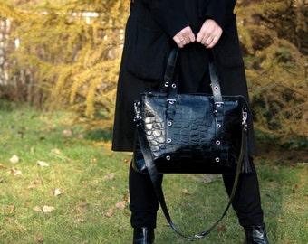 Rebelias bag, Leather bag woman, Shoulder bag leather, large bag, the elegant, shiny, black croco, gift!