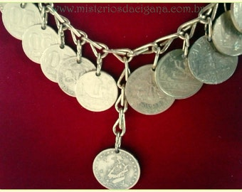 Golden Necklace with 29 genuine antique coins