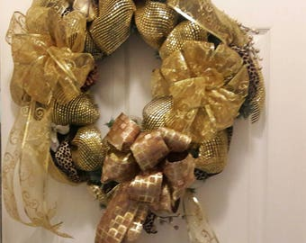 Golden Brown Wreath, Golden wired Ribbon,  Leopard print wired Ribbon, Golden Geo mesh,