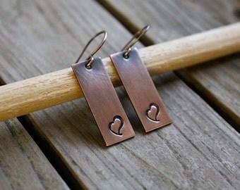 Heart Earrings / Valentine's Day Earrings / Copper Earrings / Copper Jewelry / Stamped Copper Earrings / Valentine's Day Gift