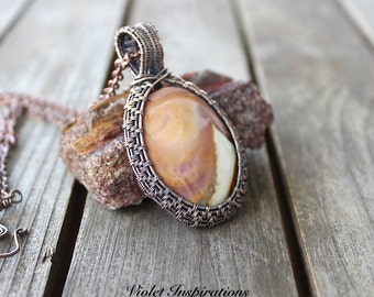 Polychrome Jasper Pendant / Wire Wrapped Jewelry / Copper Jewelry / Wire Wrapped Pendant / Copper Pendant / Wire Woven Pendant