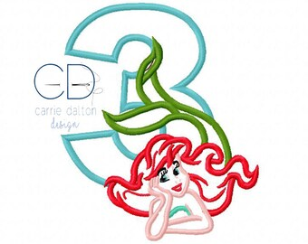 Mermaid Embroidery Design, Mermaid Applique Design, Litte Mermaid Embroidery Design, 3rd Birthday Embroidery Design