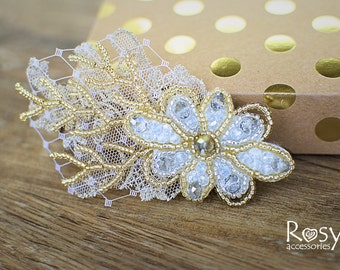 Wedding Hair Clip, Floral Wedding Headpiece, Gold Bridal Hair Clip, Bridal Hair Accessory, Flower Clip, Wedding Hair Accessory