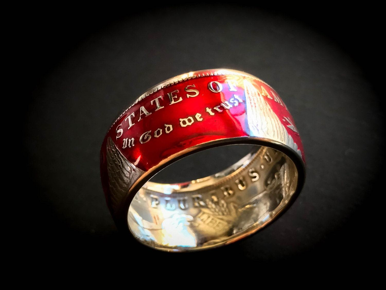 Morgan Silver Dollar Coin Ring In Red Powder Coat Finish