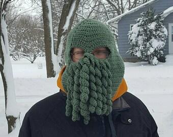 Cthulhu ski mask, crochet Cthulhu mask, Cthulhu mask, chathula mask