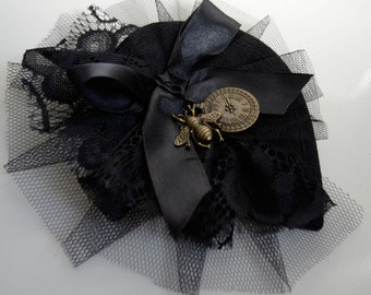 Steampunk Fascinator headpiece black white Goth