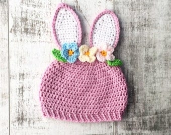Newborn baby Bunny Rabbit hat with ears and flower decoration. Perfect for Easter
