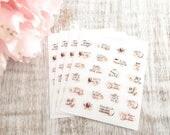 Caffeine Addict | Mini planner sticker sheet | Pastel light pink blush | tiny decorative accent stickers | Coffee stickers