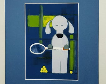 Tennis Dog Art Print with mat