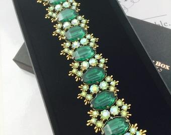 1950's Emerald Green Rhinestone Bracelet