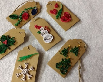 Quilled Christmas  Gift Tags - set of 6 Unique images perfect for that extra special gift.