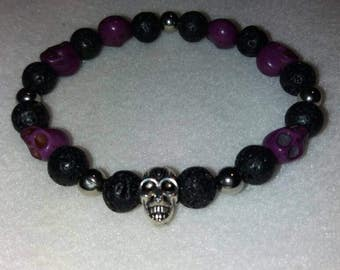 Purple and Silver Coloured Skull and Lava Rock Bead Bracelet