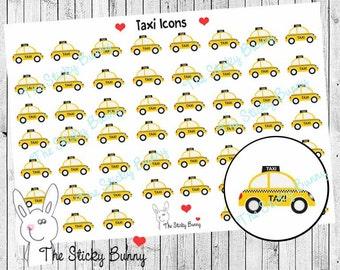 Taxi Icons - Planner Stickers for Erin Condren, Happy Planner, Kikkik, Filofax (S027)