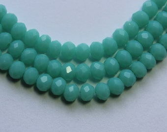 4x3mm Light  Blue Opaque Beads Crystal Rondelle Glass 17 inch Strand 130 beads