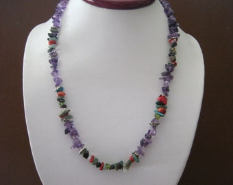 Natural Stone Hand Made Necklace- Multi-colored