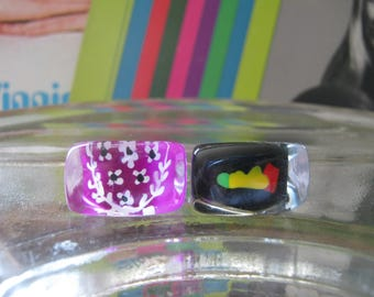 Mod Lucite square ring w/ designs. SO COOL!