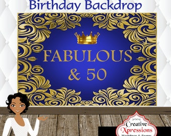 Adult Birthday Backdrop, Bling Backdrop, Candy Table Backdrop, Digital File, 40th, 50th, 21st, Birthday Backdrop, Fabulous