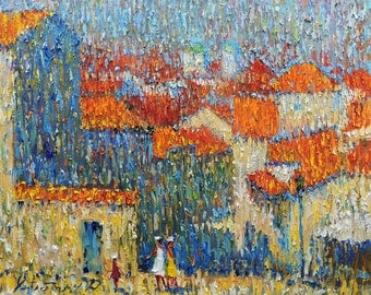 IMPRESSIONIST ART Original Oil Painting by A.Chebotaru 15,7x19,7 inch Oil Canvas Montenegro Kotor Сityscape The roofs of the old town houses