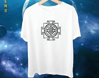 Men's Sri Yantra Mandala Tee / Tshirt, Handmade and Unique