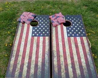 Rustic American flag cornhole set