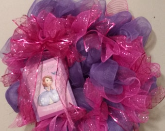 Princess Wreath, Deco Mesh Wreath, Girl's Wreath, Sophia the First Wreath, Pink and Purple Wreath, Children's Decor