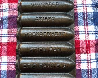 Vintage Griswold Cast Iron Tea Size Corn or Wheat Stick Pan No 262