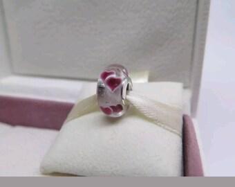Pandora  Wild Hearts Murano Glass Charm/New/Ale /s925